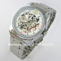 Men's Skeleton Watch Analog Stainless Steel Strap Mechanical Watches Top Qualiy Winner Casual watch Hot Selling