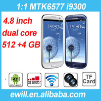 DHL EMS free shipping for 4.8 s3 i9300 phone mtk6577 dual core 512 MB RAM 4GB ROM 3G WIFI 960x540 Android 4.2 smart phone
