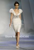 Free shipping Zuhair murad deep v-neck cap sleeves short prom dress knee length cocktail dresses