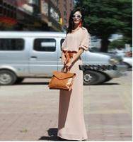 Fashion Women Clothes 2014 Plus Size  New Spring Summer Europe Designer Sexy Batwing Chiffon  Maxi Dress Floor Length Long