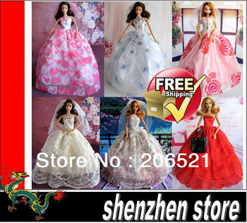 Wedding Dress for Barbie Doll Clothes for Doll 5pcs/lot Doll Dress Free Shipping with Tracking Code