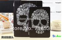 3 in 1 Flowers Skull bone Stand Dormancy Slim Leather smart cover + back case for Ipad 2/3/4