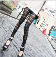 2014 new  wholesale 3pcs/lot Faux leather Lace Paneled pants / leggings, spring and summer pants (49)
