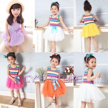 Retail,Promation free shipping beautiful summer girl rainbow dress children dresses,girls lace dress