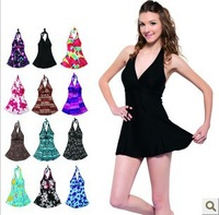 Free shipping 2014 Slim waist female swimwear size push up hot spring plus size one piece swimwear dress #K517C