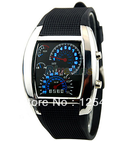 50pcs/lot Brand New Gift Black Flash LED Car Meter Dial Sports Watches For Men Worldwide free DHL(China (Mainland))