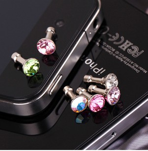 Free Shipping Cute crystal bowknot universal earphone 3.5 mm ear cap dust plug dust cap for iPhone iPod cell phone/Random color(China (Mainland))