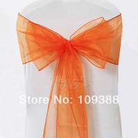 Free Shipping 100pcs Orange Organza Sash For Wedding Party