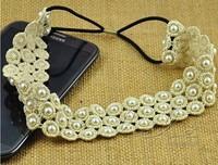 Freeshipping wholesale fashion lace dot flower pearl elastic headband hairband hair accessory 12pc/lot