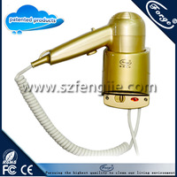 Hotel Household beaut gold  Bathroom Wall Mounted Hair Dryer Electric Blower 1200w Free shipping