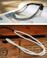Freeshipping wholesale fashion double pearl elastic headband hairband hair accessory 12pc/lot