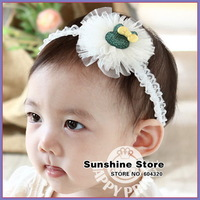 Sunshine store #2B2176 10pcs/lot (3 Colors) Infant Toddler girl baby Headband colorful chiffon flower elastic lace headband CPAM