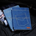 Fashion Retro Jeans Cloth Leather Case Card slot Ouside pouch Stand Smart Cover For the new iPad 3 4 for ipad 2