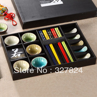 Free shipping hot Calvings glaze tableware crack glaze sushi gift box chopsticks plate15 piece set tableware set wedding gift