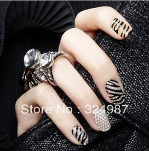 free shipping 10pcs/lot nail sticking film, nail art stick tattoo, paste nail sticker many styles