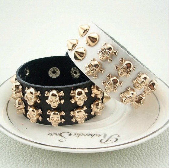 Minimum Order $15 Accessories rose gold skull bracelet genuine leather bracelet lovers bracelet day gift(Hong Kong)