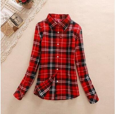 10 цветная Женская рубашка длинный рукав осень женщин верхняя одежда утолщение 100% хлопок тонкий плед рубашку одежда девушки