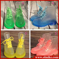 Free Drop Shipping!2014 PVC Transparent Womens Colorful Crystal Clear Flats Heels Water Shoes Female Rainboot Martin Rain Boots