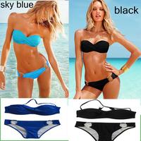 Fashion Brand for woman Sexy bikini with PAD Hot Leopard Sky blue black victoria cover cup swimsuits Ladies swimwear beachwear