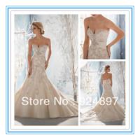 Beaded, Raised Embroidery on Net with Taffeta  Wedding Dress 2013 New Fashion(WDML-1003)