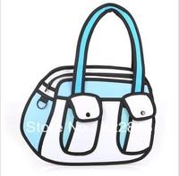 2013 new fashion 3d cartoon bag yellow canvas 3d handbag Free Shipping three color to choose 3d cartoon bag,drop shipping