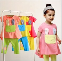 New hot sale cotton short sleeve + pants two color cute rabbit children suit free shipping