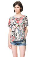 Free Shipping Nation Style Flowers Print Blouses for Women Summer Asymmetrical Lady Shortsleeve Casual Shirts 2013051502