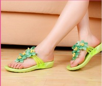 2014 summer flower platform women's high-heeled sandals candy color cross wedges slippers at home