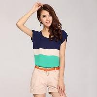 Free shipping short sleeves striped woman chiffon t shirt cheap ladies designer t-shirt women