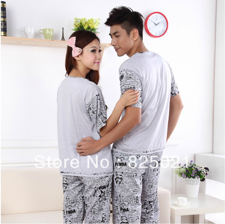 Free shipping ($150) Couples sleepwear Summer air-quality cotton couple Pajamas two piece suit Cartoon Pajamas set(China (Mainland))