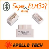 Hot sales Design SUPER MINI ELM327 Bluetooth OBD2 V1.5 White Smart Car Diagnostic Interface ELM 327 Wireless Scan Tool
