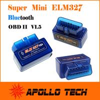 Factory supply A+ Quality SUPER MINI ELM327 Bluetooth OBD II V1.5 Smart Car Diagnostic Interface ELM 327 Wireless Scan Tool