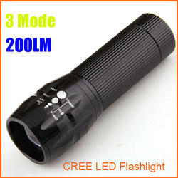 LED Torch 200 Lumen Zoomable 3 Modes CREE LED Flashlight Torch Waterproof Cree Flashlight drop shipping Free shipping wholesale(China (Mainland))