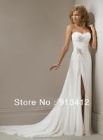Free shipping 2013 Hot Sale Classic Chiffon Sheath Strapless Sleeveless Pleat Sexy Long Formal \Wedding Dresses
