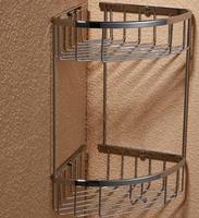 Bathroom copper double layer triangle double layer bathroom corner shelf hole-digging BR-FA-635