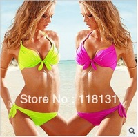Women Sexy Push up Padded Bra Beach Bikini Swimsuit Set Neon Swimwear  S M L 2013 New On Arrival Lowest Price Wholesale