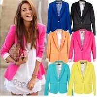 2014 Casual   hot stylish Blazers women's cotton jacket shawl lace Candy color lined with striped Z suit