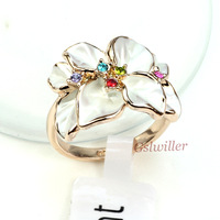 Free Shipping Italina Rigant Wholesale 18k Rose  gold plated Austrian Crystal Rings,Fashion Ring Gift