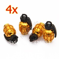 Free Shipping 4X Metal Grenade Car Motorcycle Bike Tire Tyre Valve Dust Caps Golden New