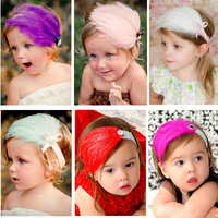 7 colors infant feather hairband, hot new cute elastic headband, #2018