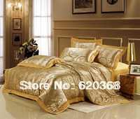 100% COTTON  Gold camel Katia Satin Jacquard bedding sets/ bed set duvet cover Bedding sheet bedspread pillowcase