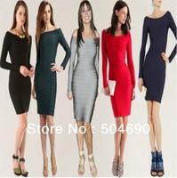 Women Dress 2013 Hot Sale Long Sleeve Evening Dress HL Bandage Dress Red Gray Green Black Blue Off the Shoulder Party Dresses