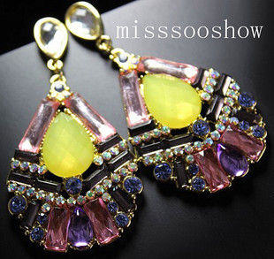 pl852 HM, ANNA cooperation models temperament bingbing shiny earrings drop earrings(China (Mainland))