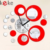 Silver and black rounds wall clock modern design luxury mirror wall clock,3d crystal mirror wall watches michael wall clocks