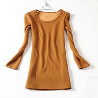 women's base shirt    Nnew arrival  o-neck plus velvet thickening thermal long design  low collar  basic shirt  Drop shipping