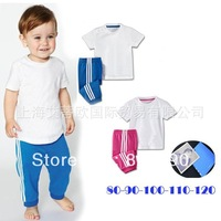 New arrival 2013 baby clothing sets Wholesale boy and girl sport sets/shirt+pants/baby wear/kids clothing/2 sets/baby clothes