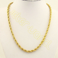 New Arrival Top Quality Fashion Jewelry Wholesale&Retail Men's Boy's 6MM 20IN 18K Gold Filled Necklace Rope Chain HX53