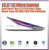 "Freeshipping 13.3"" Full Aluminium Alloy laptop computer  i3 3217U dual 1.8ghz 4G RAM 64G SSD WIFI Bluetooth HDMI WIN 7 8400mah"