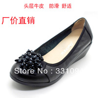 Comfortable wedges genuine leather shoes women's plus size 41 42 43 beaded soft slip-resistant outsole single shoes mother shoes