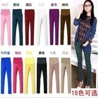 Best Selling!!2013 fashion thin candy color elastic sateen pregnant maternity women leggings pencil pants trousers+Free Shipping